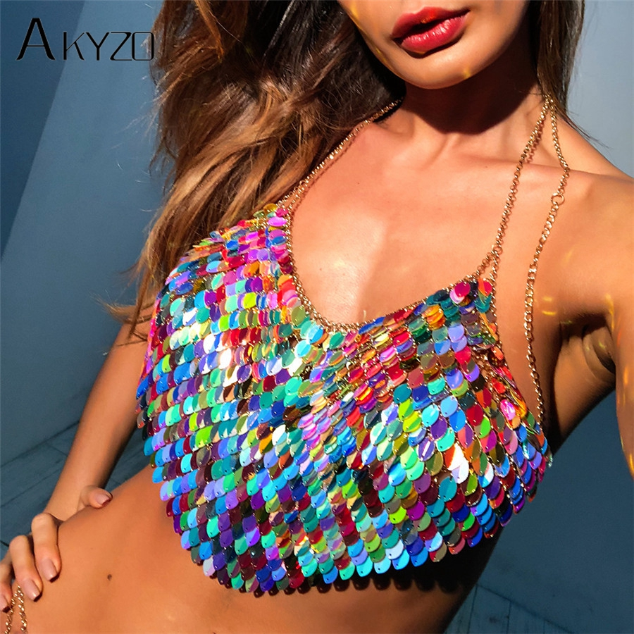 AKYZO Sexy Halter Chain Scales Sequins Crop Top 2018 Summer Beach Backless Nightclub Party Camis High Quality Handmade Tops Top