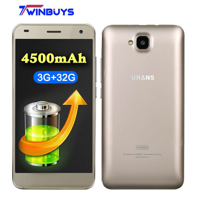 UHANS H5000 4G LTE Smartphone 5 Inch HD MTK6737 Quad Core Android 6.0 3GB RAM 32GB ROM 13MP 4500mAh Fast Charge Mobile phone