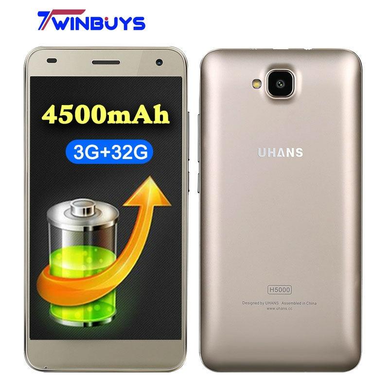 bilder für UHANS H5000 4G LTE Smartphone 5 Zoll HD MTK6737 Quad Core Android 6.0 3 GB RAM 32 GB ROM 13MP 4500 mAh Schnellladung Mobile telefon