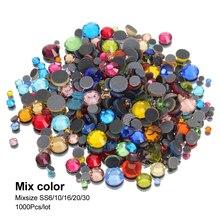Mix size and Mix color shiny Hotfix Rhinestone SS6-SS30 crystal glass  flatback 52c44580fba1
