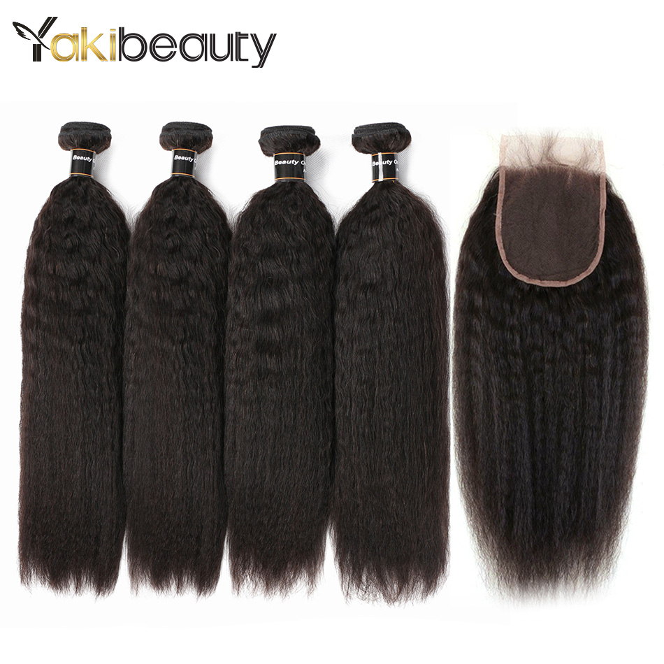 Yaki beauty Kinky Straight Hair Bundles With Closure 4x4 Brazilian Hair 4 Bundles With C ...