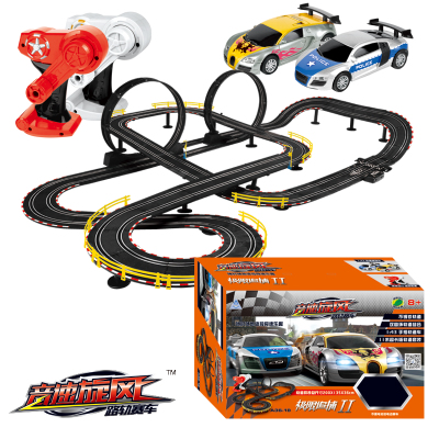 Vente chaude 1100 cm 1:43 rail électrique voiture piste ensemble double RC course enfants jouets garçons cadeau bricolage assemblage jouets pour enfants moulé sous pression