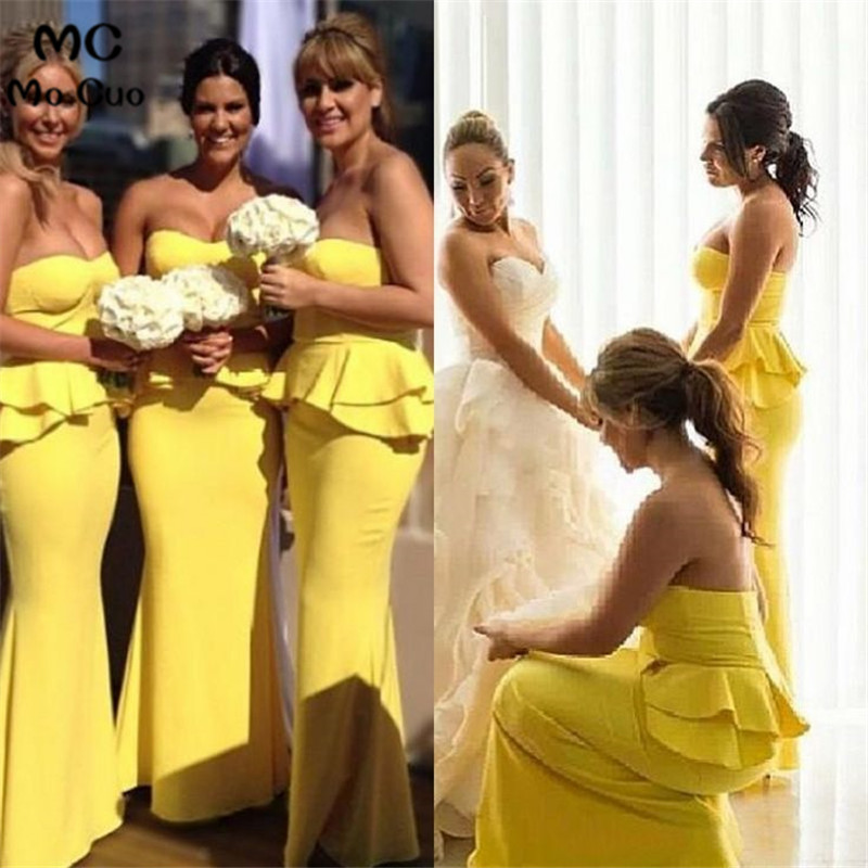 wedding party Elegant 2019 Mermaid   Bridesmaid     Dresses   Long Sweetheart Ruffles Elastic Satin Zipper Women Yellow   bridesmaid     dress