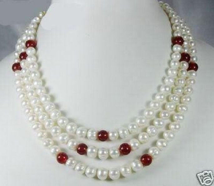 Selling >Exquisite 3Rows White Akoya Pearl and Red jewerly Necklace>free shipping