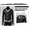 Korean style Men Faux Leather Fahsion Motorcycle Leather Jackets Male casual Coats Brand New clothing Black