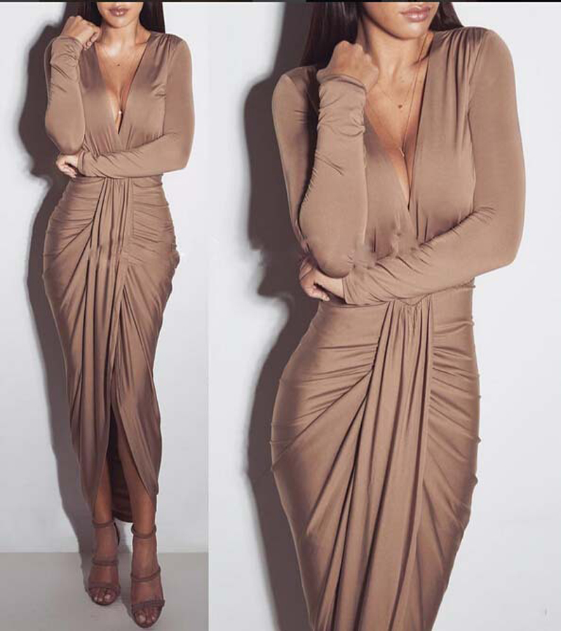 Spring And Autumn 2018 Fashion Women Dress Draped Deep V -Neck Clothing Sexy Styles