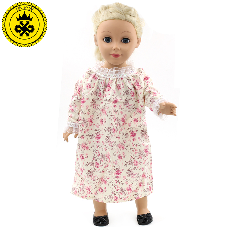 American Girl Dolls Clothing Multicolor Printed Lingerie Doll Clothes of 18 inch Doll Spring Dress Accessories 2 Colors MG93-94 handmad 18 inch american girl doll clothes princess anna dress fits 18 american girl doll mg 032