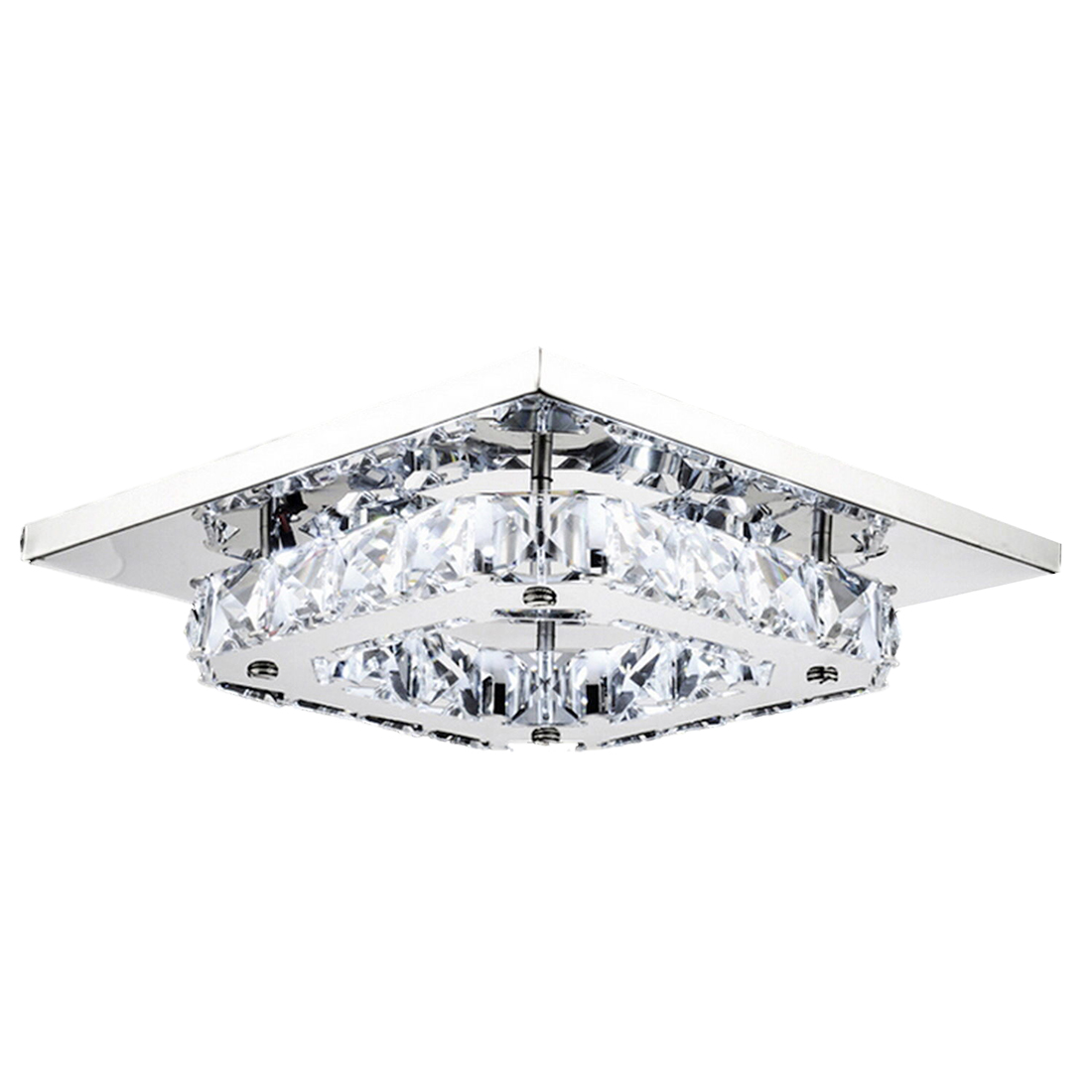 8 LED Crystal Flush Mount Modern Transparent Stainless Steel Ceiling Light Lamp