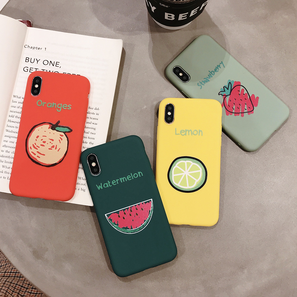KIPX1090_9_JONSNOW Phone Case for iPhone XR XS Max 6S 7 8 Plus Embossed Fruit Style Lemon Watermelon Strawberry Patterns Soft Silicone Cover
