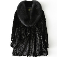 Autumn and Winter Mink Coat Medium Style Woman Real genuine Fur Outwear Coat 2019 New Fashion Warm Fox Fur Jacket M 2XL