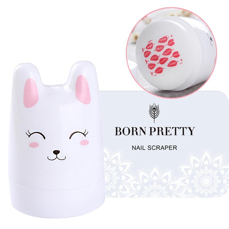 BORN PRETTY 3 stk / sæt Cute Kanin Bunny Silikone Neglestamper med 2 stk. Nail Scrapers til Nail Stamp Plates Nail Art Tool Set