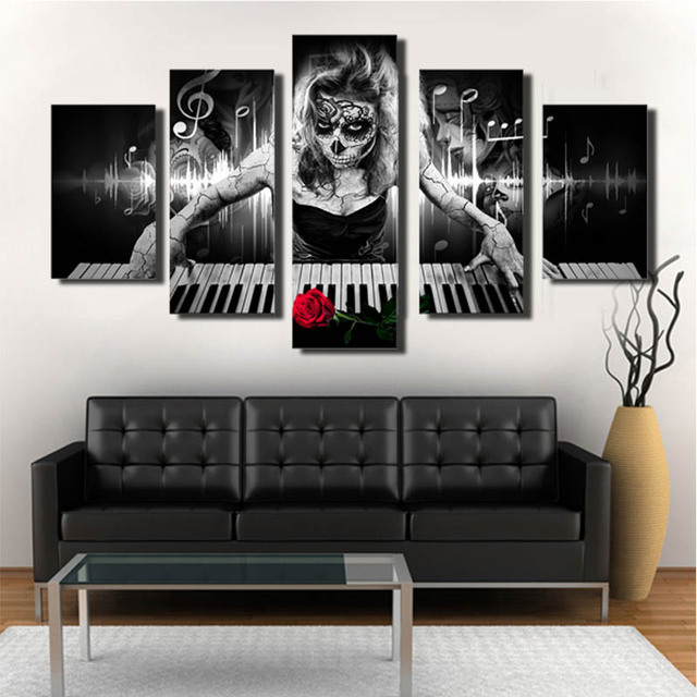 Day Of The Dead Wall Art online shop 5 panels hd printed day of the dead face wall art