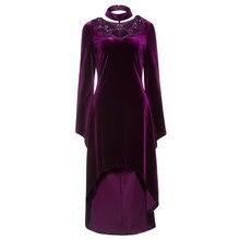 2018 frühling Gothic Kleid Frauen Pleuche Lila Asymmetrische kleid elegante  Partei Aufflackernhülse vintage lila Gothic Kleider cc2f14d35e
