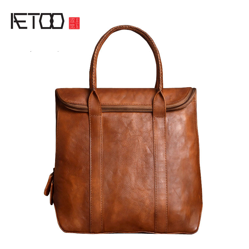 AETOO  The new men's vertical section of the handbag head of the package tanned leather briefcase ladies handbags Sassafras smc the new head of passing filter aff150a 40