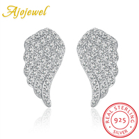 Ajojewel Micro Pave AAA Zircon Women Silver Angle Wing Earrings 925 Sterling Stud High Quality Jewelry