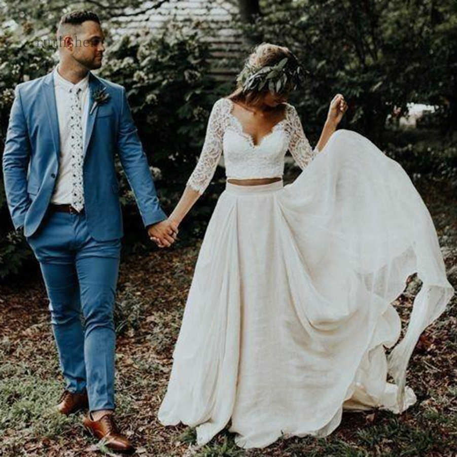 A-Line Two Pieces Beach Country Wedding Dresses 2019 Chiffon Ruffles Lace Top 3/4 Sleeves Bridal Gown