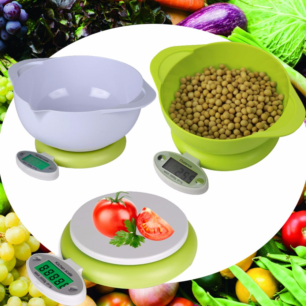 Hot !!! Practical 5KG/1g LCD Display Digital Scale Electronic Home Use Food Diet Postal Scale Weight Tool with Tray Green