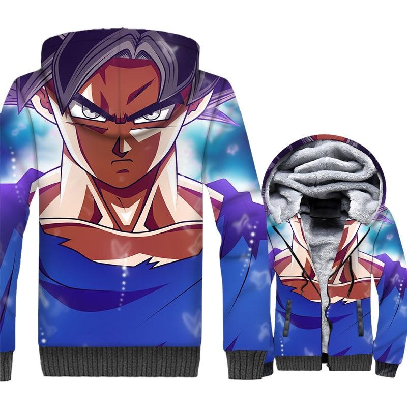 Dargon Ball 3D Jacket Men Hoodies Japan Anime Harajuku Sweatshirts Winter Thick Fleece Zipper Super Saiyan Vegeta Hipster Coat