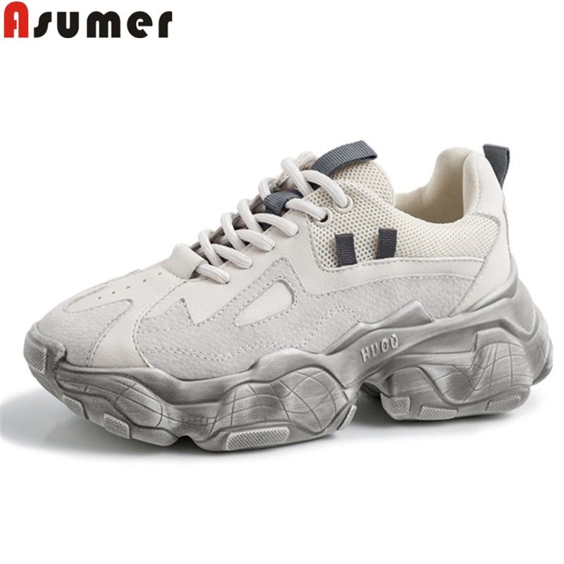 ASUMER 2019 nouvelles chaussures femme à lacets en cuir de vache chaussures femmes décontracté Chaussures de Marche Chaud Luxe Papa Chaussures Espadrilles femmes chaussures