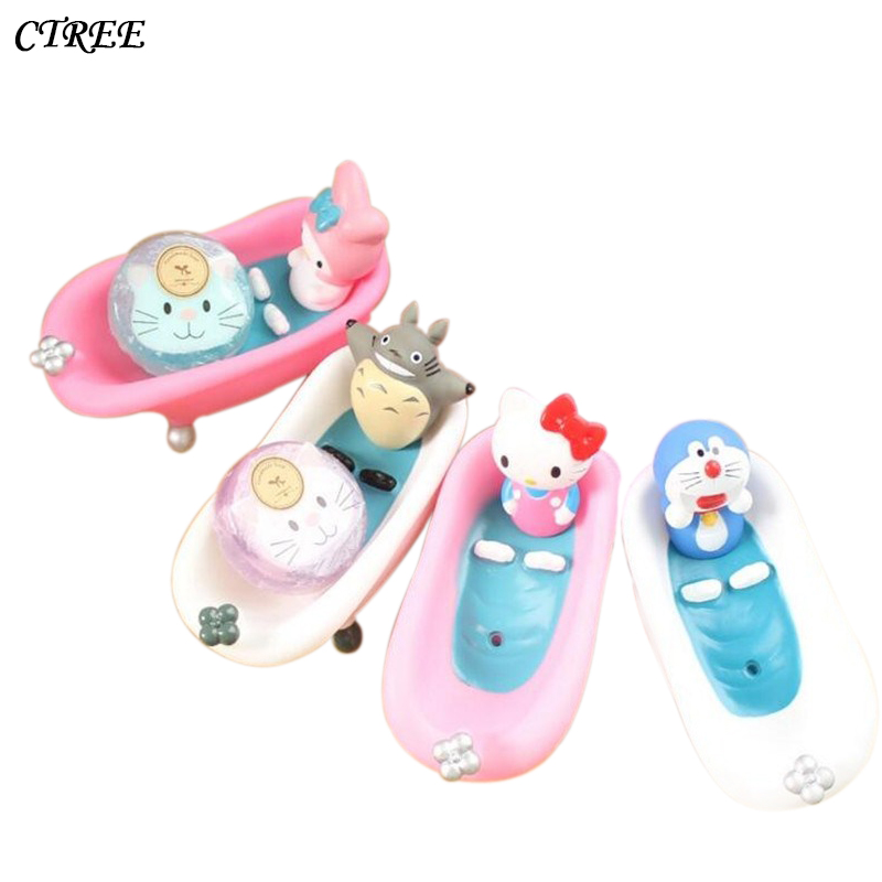 CTREE New Soap Dish Box Home Bathroom Accessories Creative Cute Cartoon Pink Cat Set Holder Wash Drain Shower Case Gift box C56