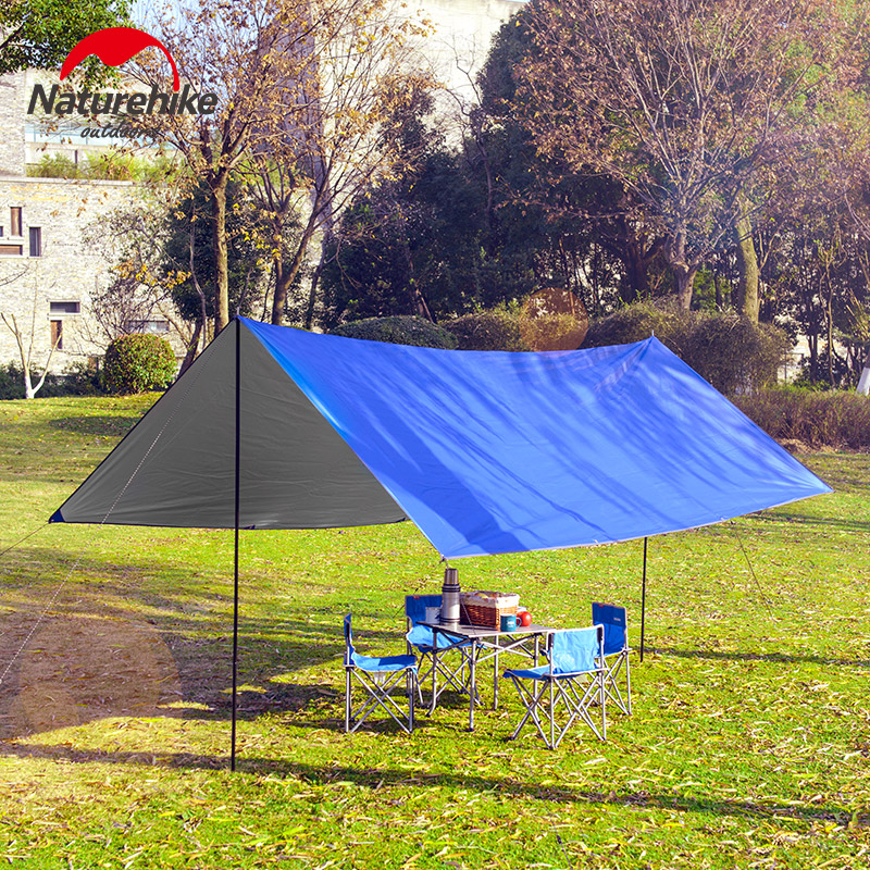Naturehike Sun Shelter Waterproof Beach Tent Beach Shade Tarp Camping Sunshade Gazebo Awning Canopy Tent With Poles 4m*3m*2m outdoor summer tent gazebo beach tent sun shelter uv protect fully automatic quick open pop up awning fishing tent big size