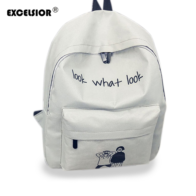 EXCELSIOR Fashion Embroidery lovers Backpacks Canvas Men Women School Bag For Teenagers Student Book Bags Mochila Back pack