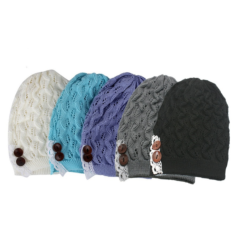 1 pc Winter Hat for Women Leaves Solid Color Button Hollow Out Knitted Hat Cap Female Fashion Skullies Hats Bonnets Accessories
