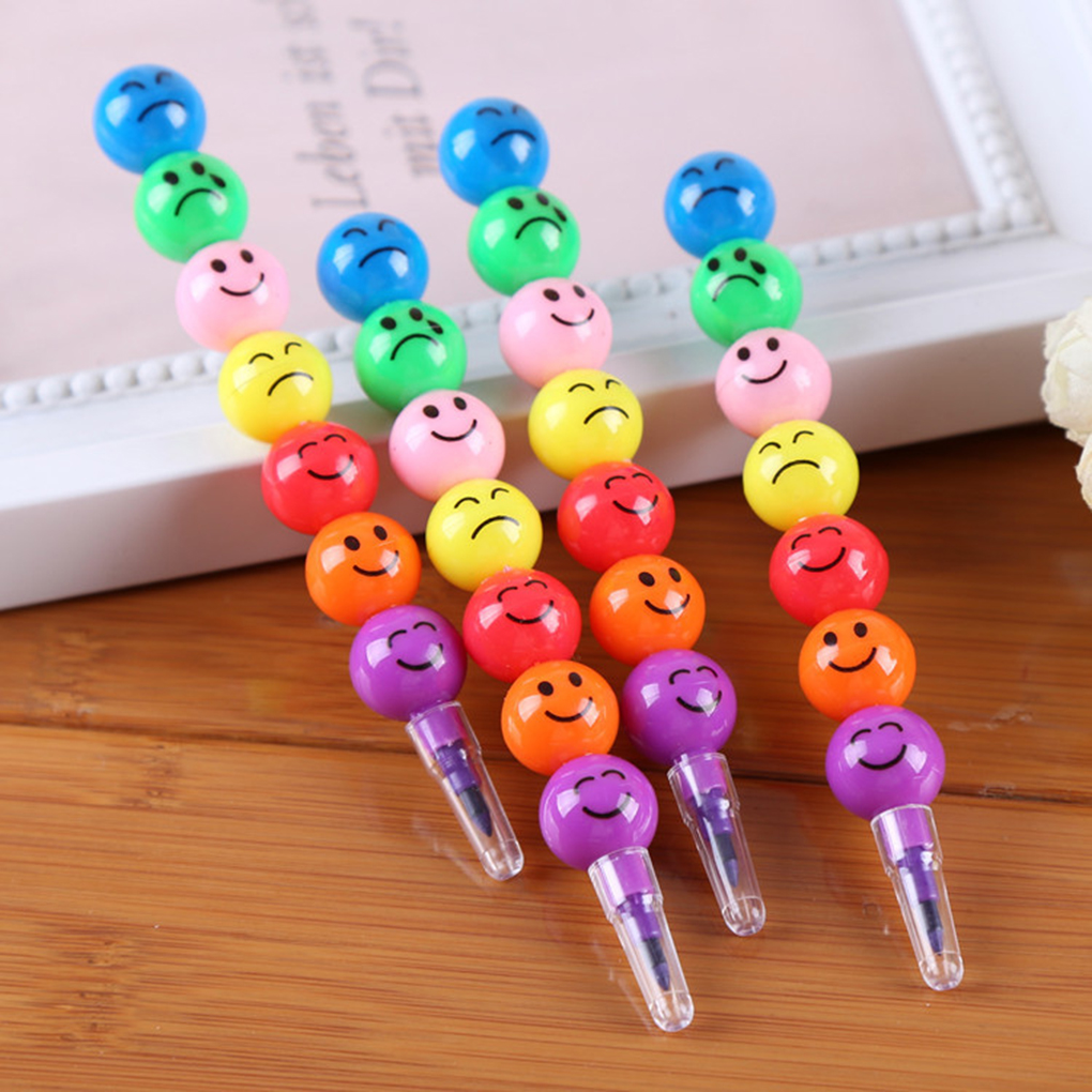 Hot Sale 7 Colors Cartoon Face Print Pencils Lovely Round Graffiti Pen Stationery Gifts For Kids Wax Crayon Pencil