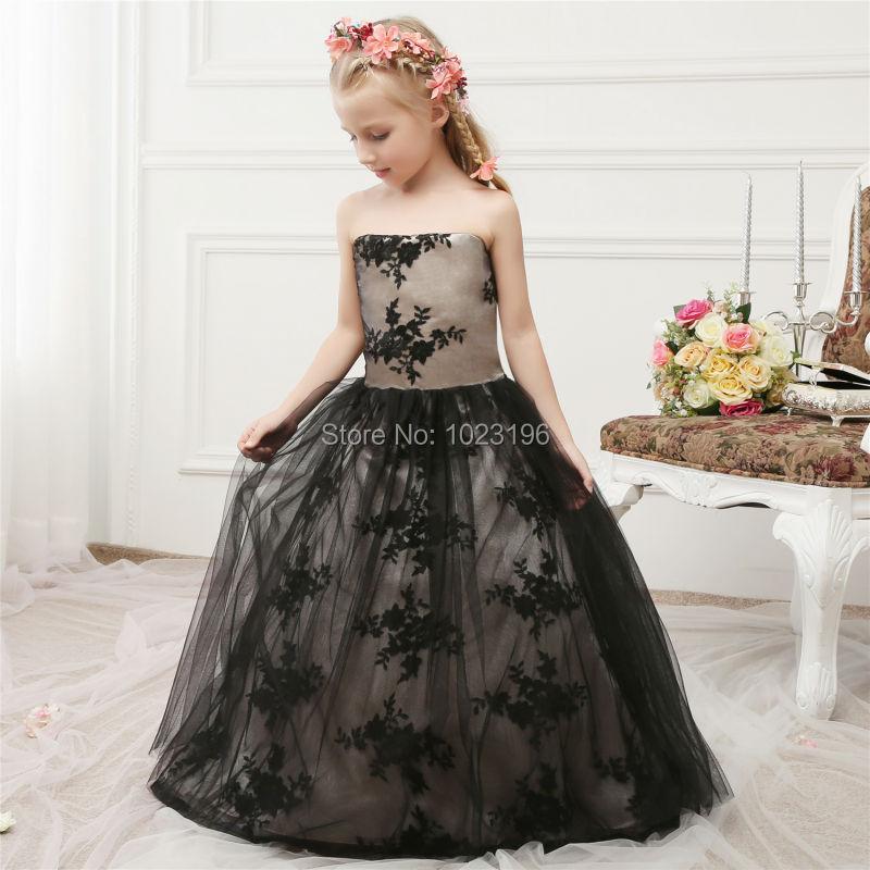Real Images 2017 Hot Black Tulle Lace Princess Kids Baby -5657