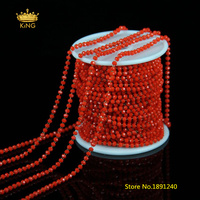 5meters 2x3mm Rosary Chains Tiny Glass Faceted Rondelle Beads,Red Glass Wire Wrapped Plated Bronze Links Beaded Chain Bulk HX100