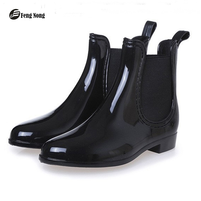 Feng Nong Spring winter boots brand design ankle boots rain boots elastic band shoes woman solid rubber waterproof flats cd609