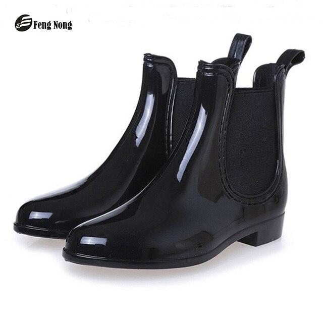 Phong Nông Mùa Xuân khởi động mùa đông thiết kế thương hiệu mắt cá chân mưa khởi động khởi động ban nhạc đàn hồi giày phụ nữ rắn cao su không thấm nước căn hộ cd609