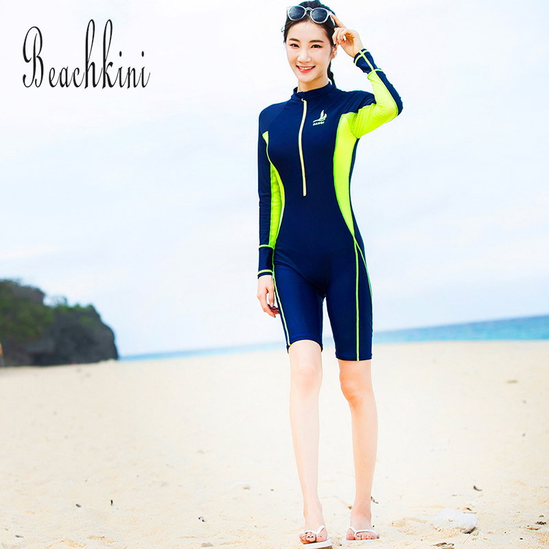 Rash Guard 2018 Sport Swimsuit Long Sleeve Swimwear Women Long Boyshorts One Piece Bathing Suit Front Zipper Surfing Wear цена