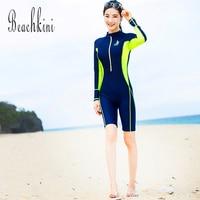Rash Guard 2019 Sport Swimsuit Long Sleeve Swimwear Women Long Boyshorts One Piece Bathing Suit Front Zipper Surfing Wear