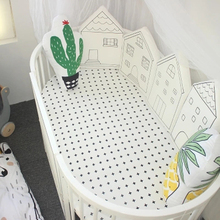 4 Pcs/Lot Little House Pattern Baby Bed Bumper Baby Crib Bumper Crib Protection Nordic Infant Bed Barrier Children's Room Decor