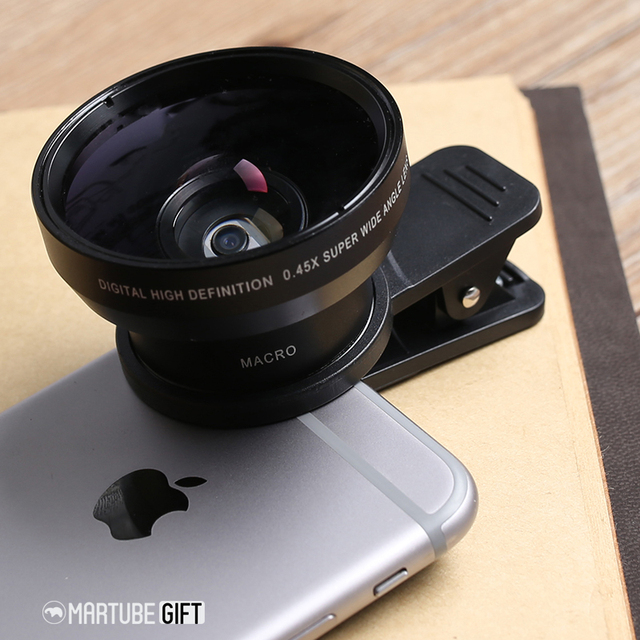 Professional 0.45x wide angle with super 10x macro mobile phone lenses for samsung iphone 7 8 universal HD camera lens