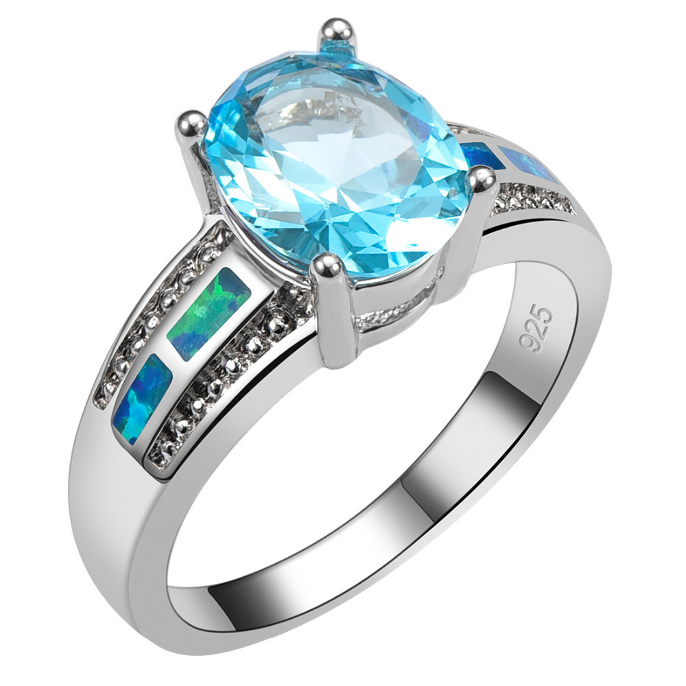 Simulated Aquamarine With Blue Fire Opal 925 Sterling Silver Ring Size 6 7 8 9 10 R1456
