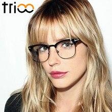 99b96785c4 TRIOO Semi-Rimless Black Gafas de sol mujer Retro Stylish Glasses Frame  Female New Trending