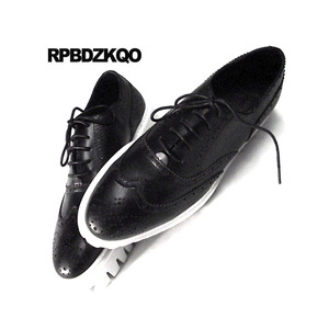 Image 4 - Oxfords Genuine Leather Creepers Spring Men Shoes Handmade Casual Platform Black Big Size Wingtip Brogue Luxury Deluxe Real