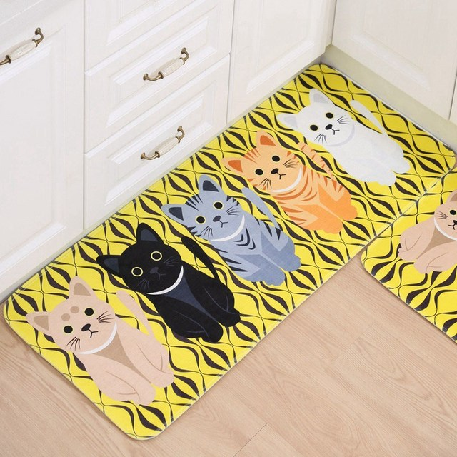 Welcome Floor Mats Rugs for Kitchen Cat Printed Bathroom Carpet ...