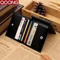 Qoong moda hombres carteras de cuero ultra-delgado con clip de metal dinero monedero tarjeta de crédito de múltiples funciones masculino sostenedores de la identificación