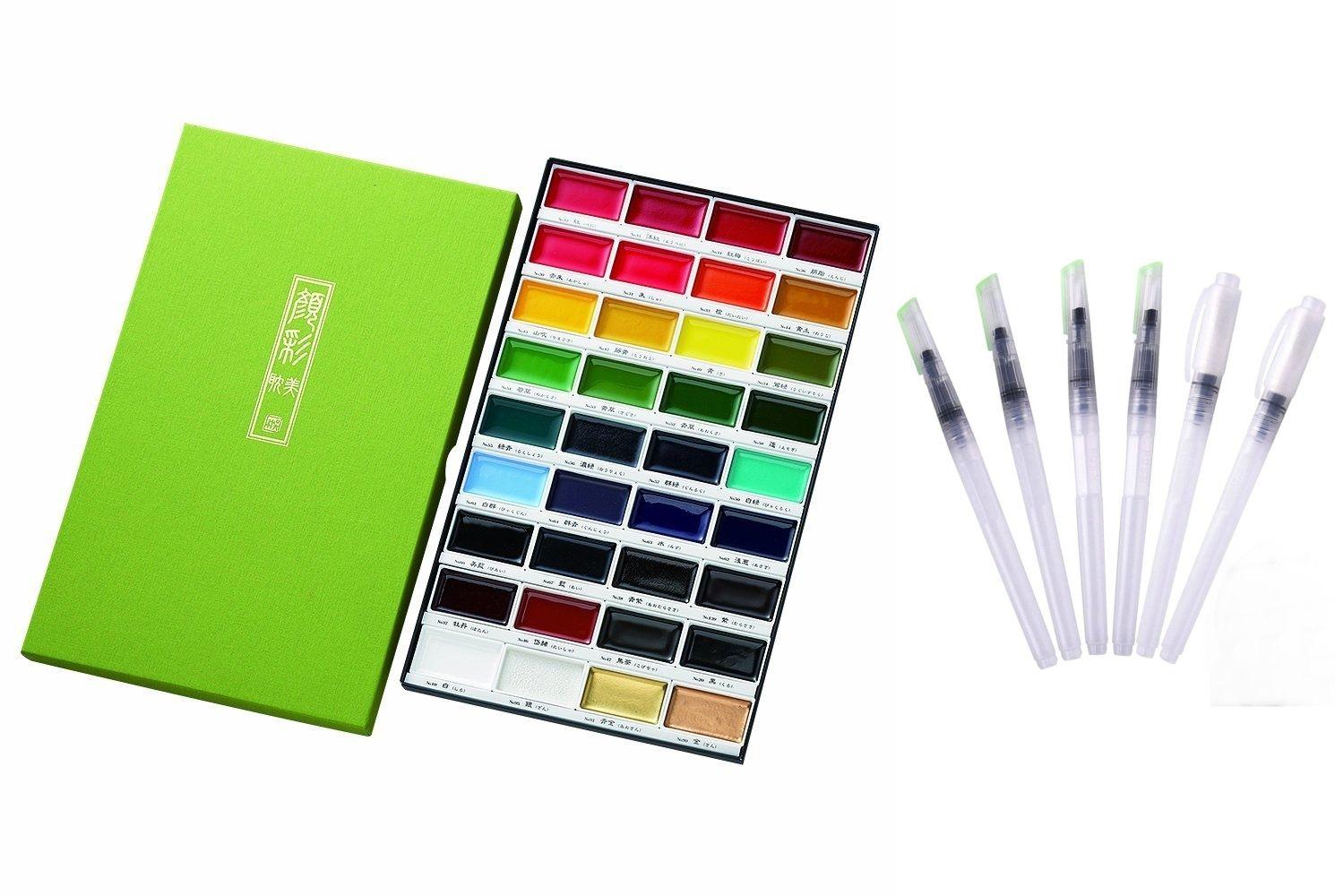 Kuretake Gansai Tambi الصلبة المياه اللون 36 مجموعة زائد 6 المياه اللون فرشاة مجموعة أقلام كبيرة المائية مجموعة أدوات رسم-في ألوان مائية من لوازم المكتب واللوازم المدرسية على  مجموعة 1
