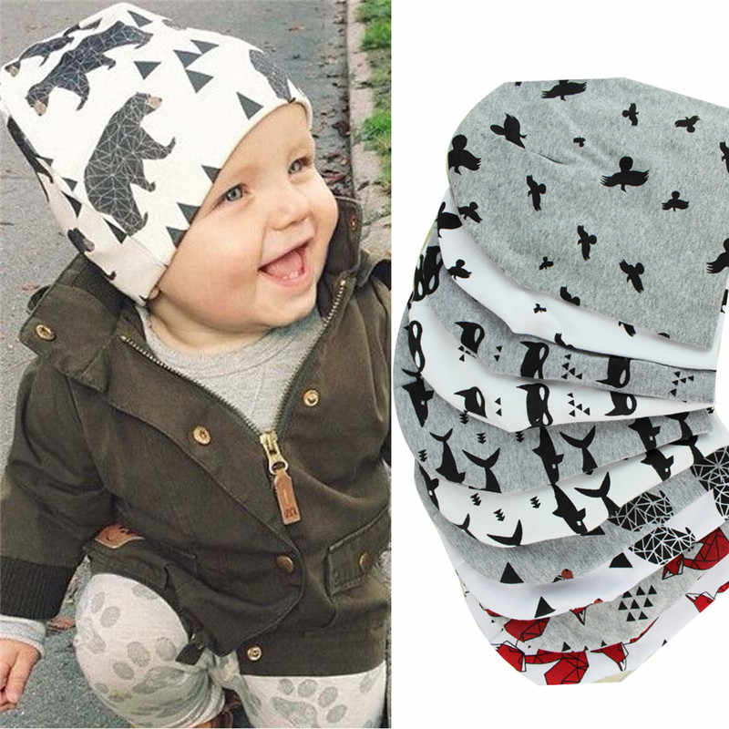 2020 marke Baby Kappe Cartoon Tier Doppel Printting Baumwolle Stricken Beanie Hüte Für Kleinkind Jungen Mädchen Frühling Herbst Winter Headwear