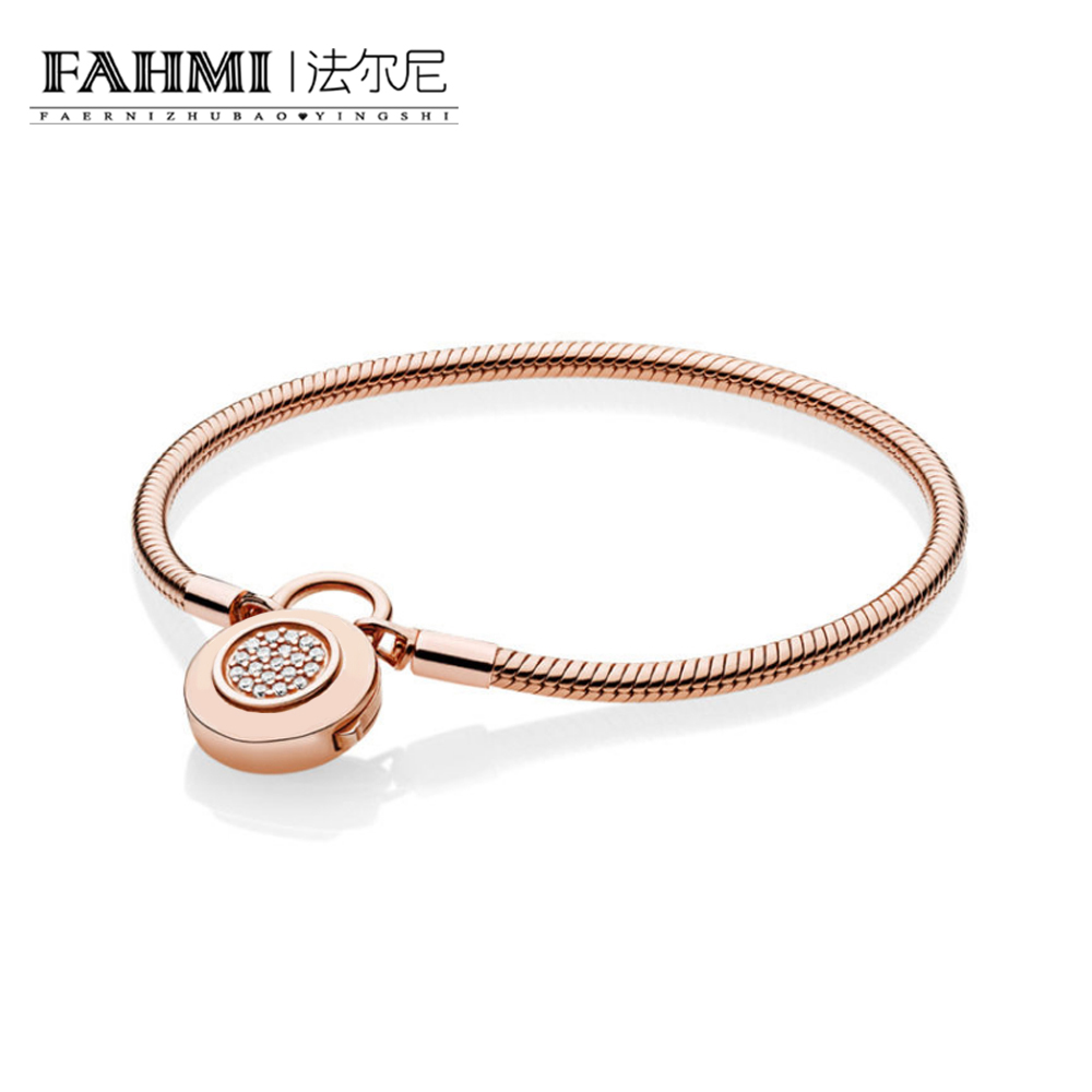 FAHMI 100% 925 Sterling Silver 1:1 Charm 587757CZ ROSE MOMENTS SMOOTH BRACELET WITH SIGNATURE PADLOCK CLASP Original Women 925 sterling silver pandora bracelet moments smooth bracelet with signature padlock fit lady beads charm pendant jewelry
