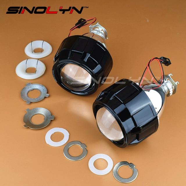 De coches de Estilo 2.5 pulgadas Bi xenon Lente Del Proyector Mini WST HID Faro Retrofit Negro Con Mini Gatling Gun Cubiertas, utilizar Bombillas H1