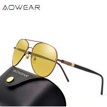 AOWEAR HD очки ночного видения мужские поляризованные очки для ночного вождения авиационные солнцезащитные очки для мужчин и женщин авиационные желтые солнцезащитные очки