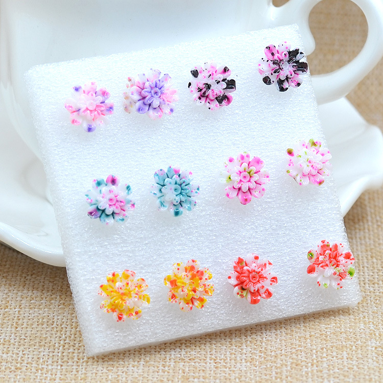 6 Pairs/Set Resin Colorful Daisy Flower Ear Stud Earrings Women Girl Fashion Jewelry Free Shipping