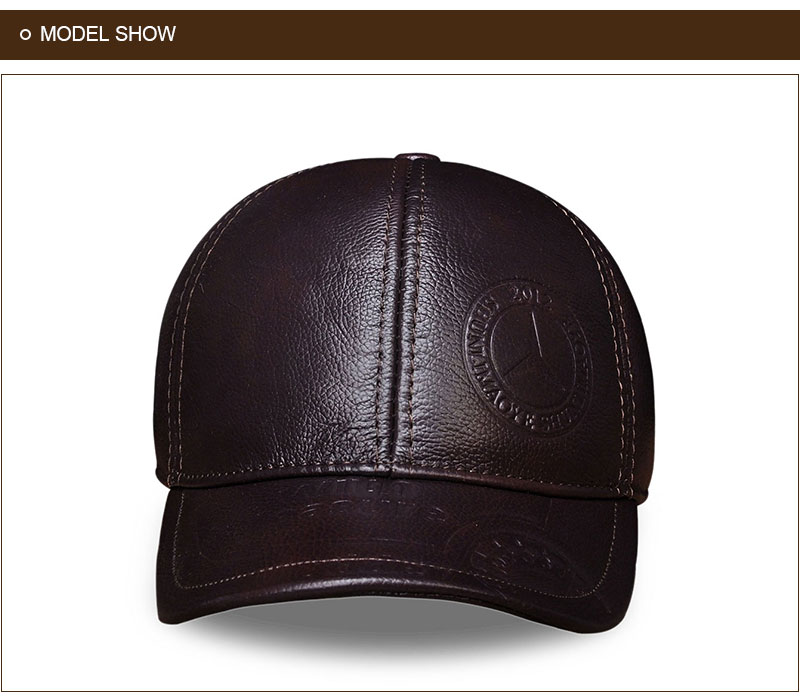 Genuine Leather Embossed Mens Baseball Cap - Brown Front View