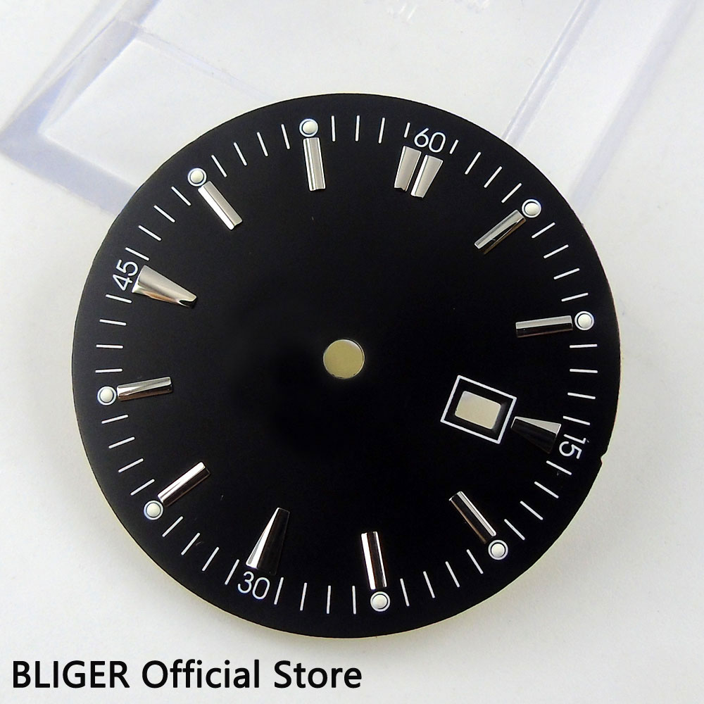 Stainless Steel 34.8MM Black Sterile Dial Silver Marks Date Window Watch Dial Fit Miyota 8215 Automatic Movement D41