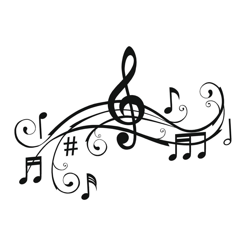 28.6*20.3CM Art Music Notes Bumper Sticker Personalized Vinyl Car Decorative Accessories Black/Silver C7-1116